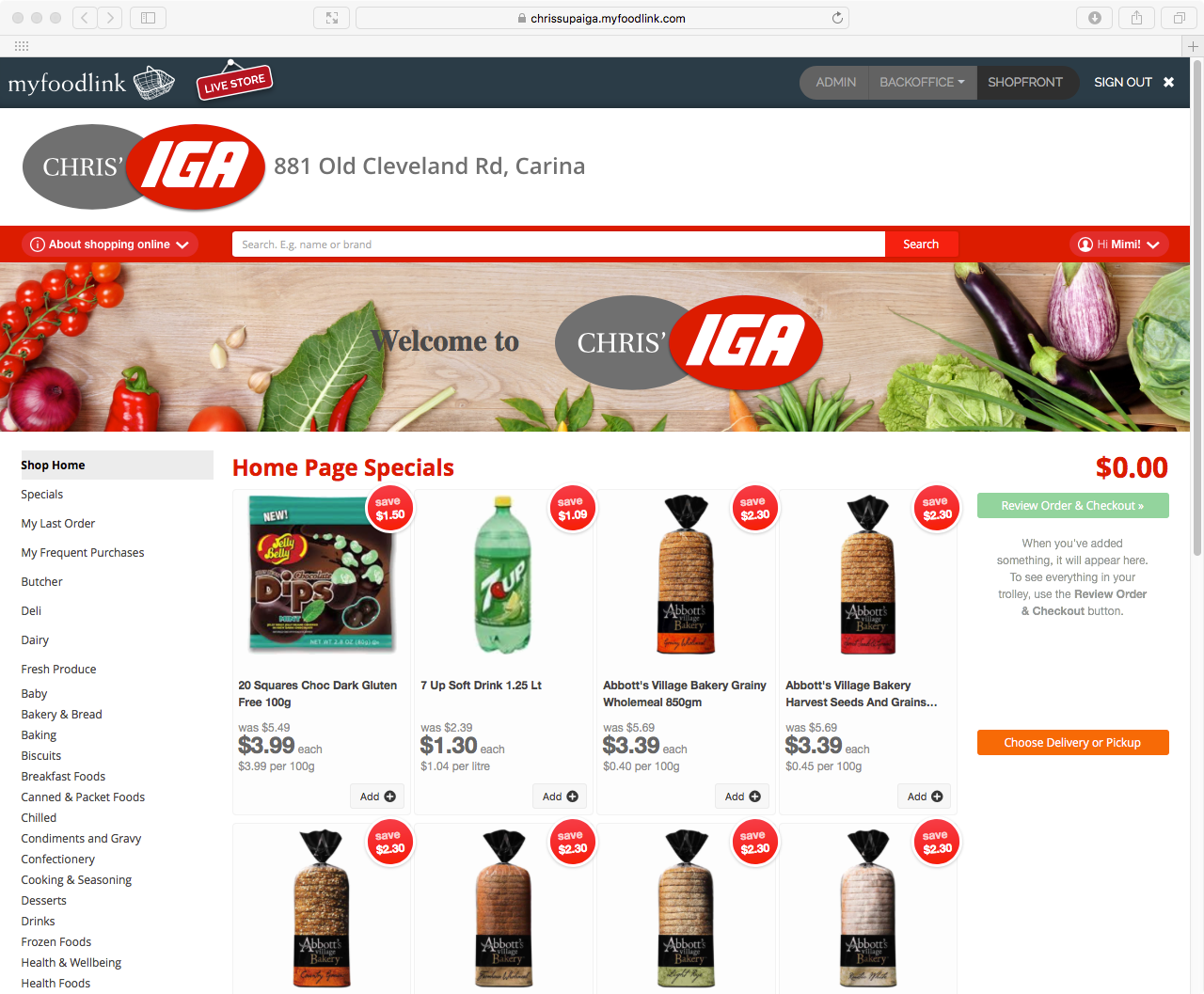 Image showing home page of Chris' SUPA IGA Carina online store