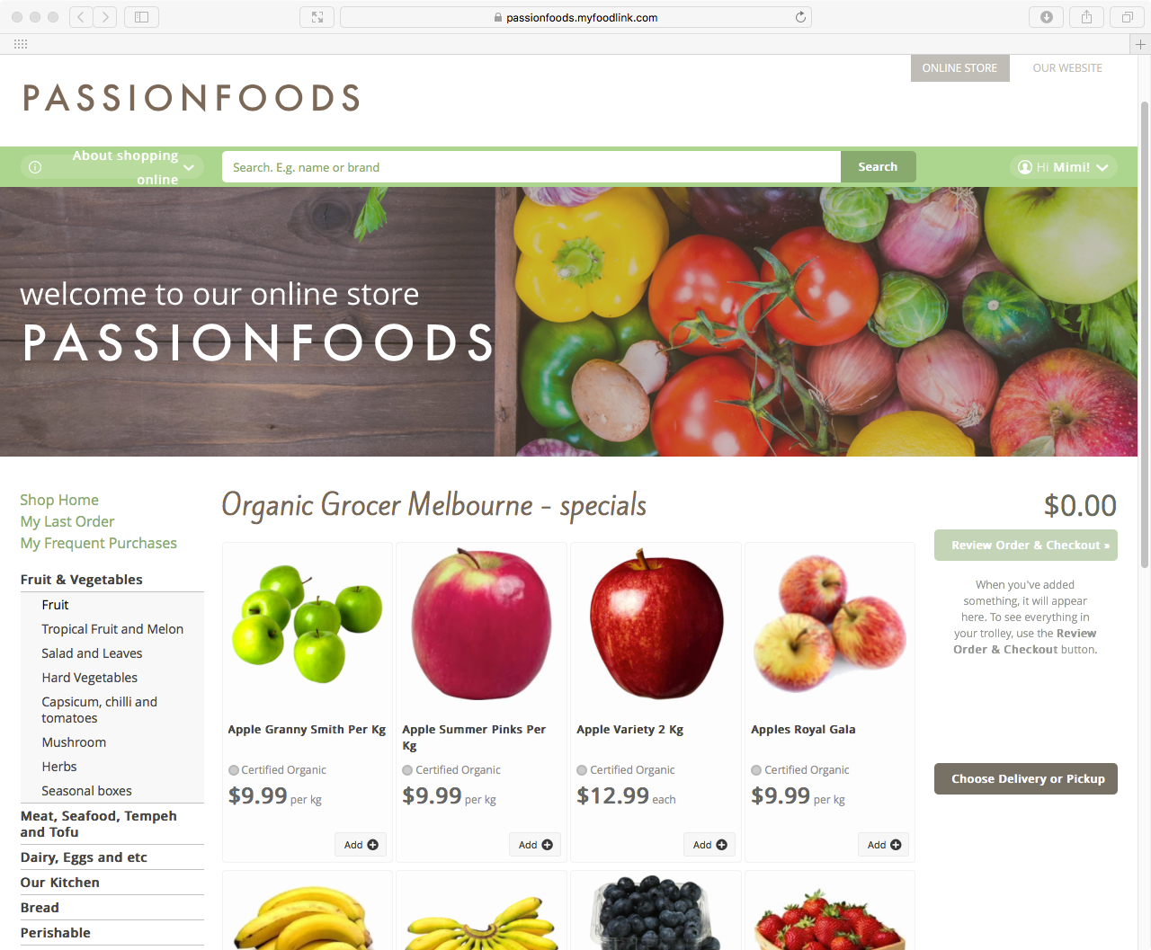 Image of Passion Foods online store home page